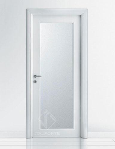 Porta interna vetro lungo rovere sbiancato bianco laccato - Porte in rovere sbiancato ...
